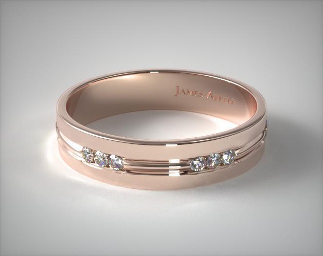 14K Rose Gold 6mm Etched Channel Set Diamond Wedding Ring