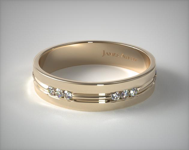 18K Yellow Gold 6mm Etched Channel Set Diamond Wedding Ring
