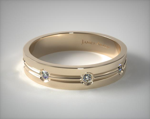 14K Yellow Gold 6mm Etched Bezel Set Diamond Wedding Ring