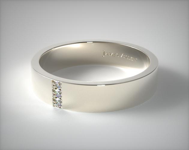 14K White Gold 6mm Recessed Diamond Wedding Ring