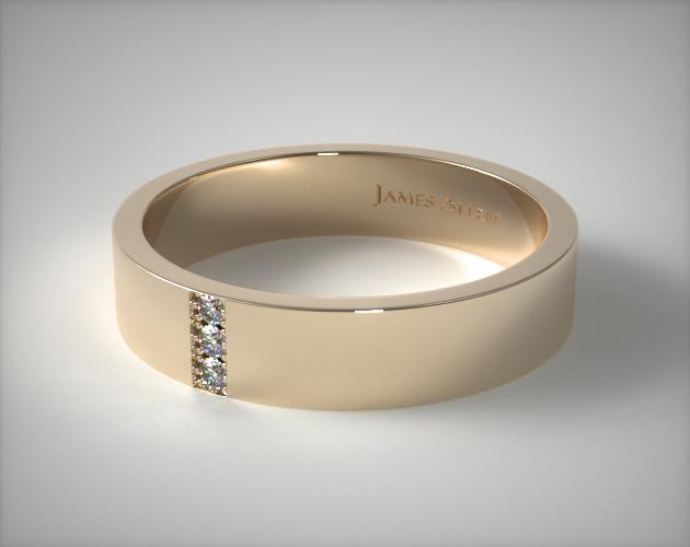 14K Yellow Gold 6mm Recessed Diamond Wedding Ring