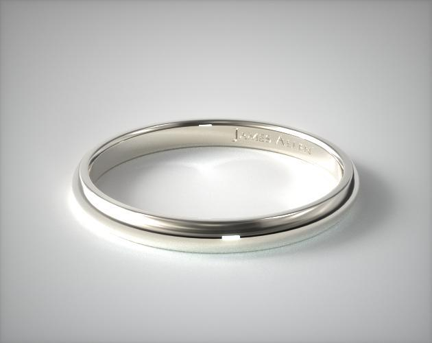 Palladium 3mm Slightly Domed Comfort Fit Wedding Ring