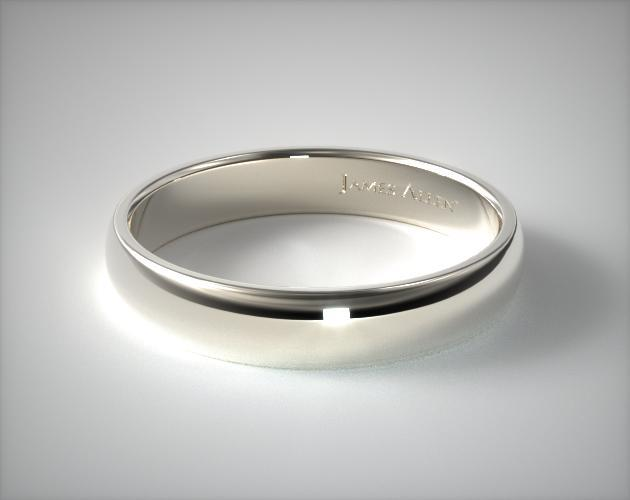 14K White Gold 5mm Slightly Domed Comfort Fit Wedding Ring