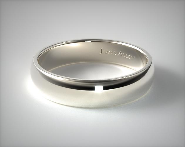 14K White Gold 6mm Slightly Domed Comfort Fit Wedding Ring