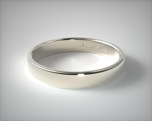 14K White Gold 4.5mm Slightly Flat Comfort Fit Wedding Ring