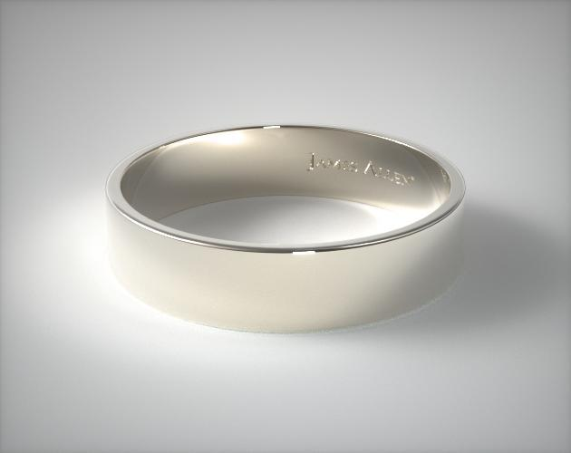 14K White Gold 6mm Flat Comfort Fit Wedding Ring