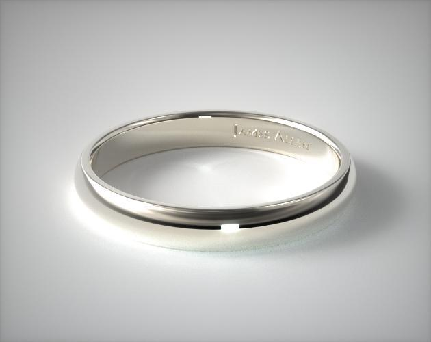 14K White Gold 4.0mm Low Dome Wedding Ring