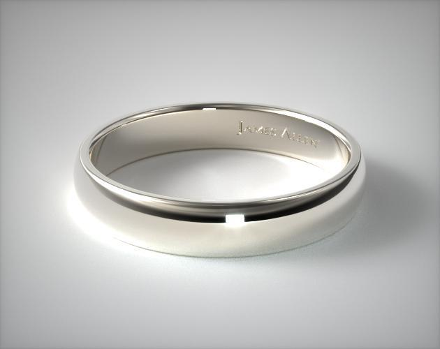 14K White Gold 5mm Low Dome Wedding Ring