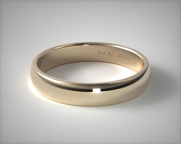 14K Yellow Gold 5mm Low Dome Wedding Ring