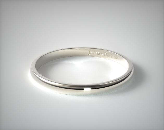 2 5mm Traditional Slightly Curved Wedding Ring 14k White Gold