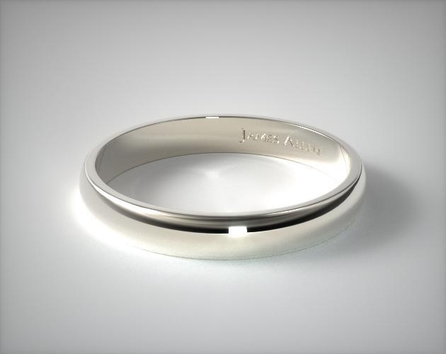 14K White Gold 4mm Traditional Slightly Curved Wedding Ring