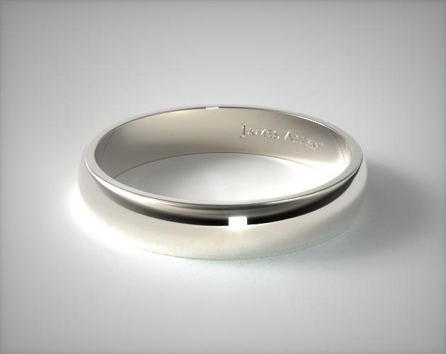 18K White Gold 5.0mm Traditional Slightly Curved Wedding Ring
