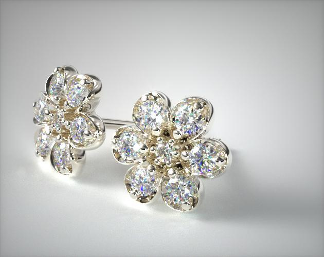 14k White Gold Diamond Flower Earrings 0 39 Ctw