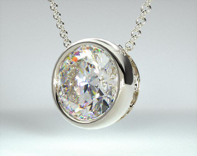 14K White Gold Bezel Diamond Pendant (Mounting)