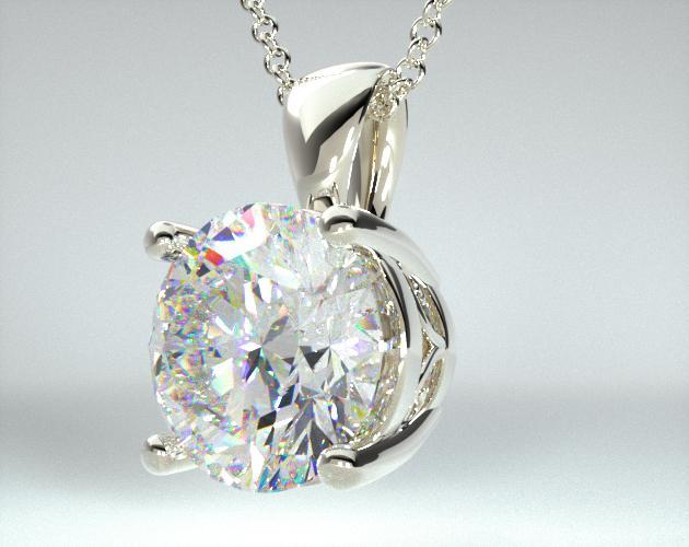 14K White Gold Scroll Basket Pendant (Mounting)
