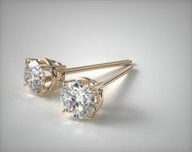 18K Yellow Gold Four Prong Round Brilliant Diamond Earrings (0.25 CTW.)