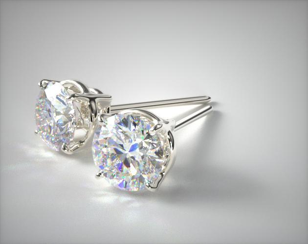 18K White Gold Four Prong Round Brilliant Diamond Earrings (0.50 CTW.)