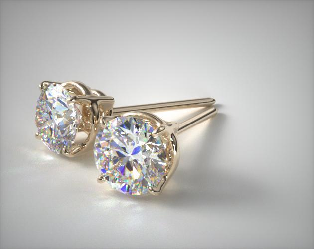 18K Yellow Gold Four Prong Round Brilliant Diamond Earrings (1/2 CT TW.)