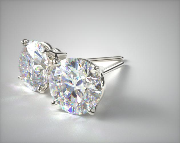 18K White Gold Four Prong Earrings (Mounting)