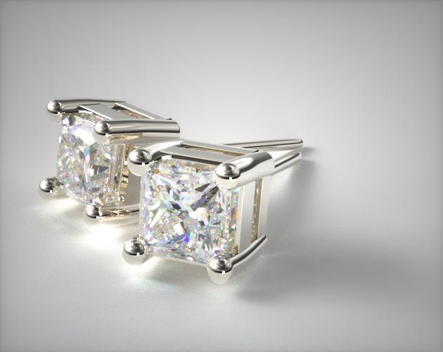 18k White Gold 1/2ctw Classic 4 Prong Asscher Cut Diamond Earrings