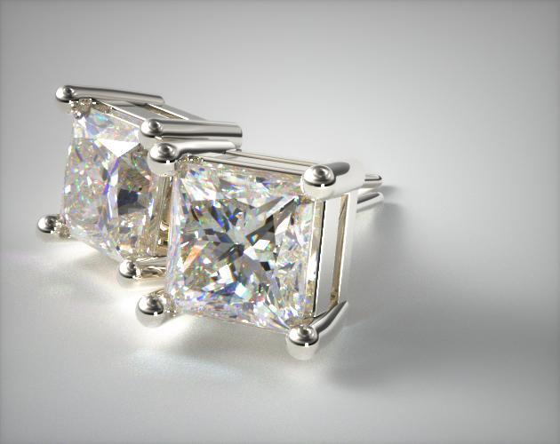 18K White Gold Classic Four Prong Asscher Cut Diamond Earrings (0.25 CTW.)
