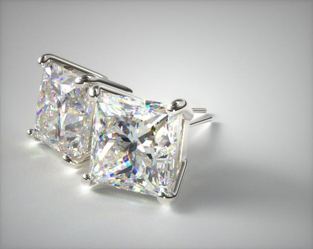 18K White Gold Princess Cut Stud Earrings (Mounting)
