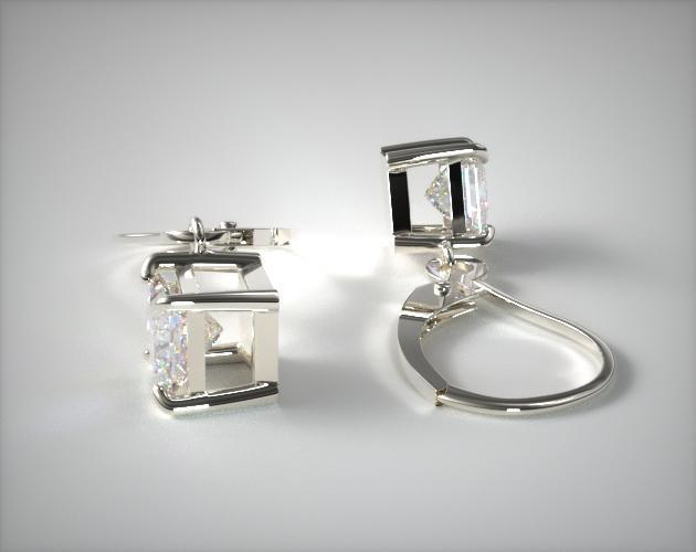 18K White Gold Diamond Leverback Dangle Earrings (0.25 CTW.)