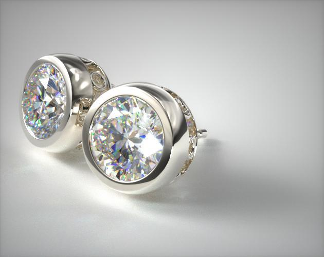 14K White Gold Bezel Diamond Earrings (0.50 CTW.)