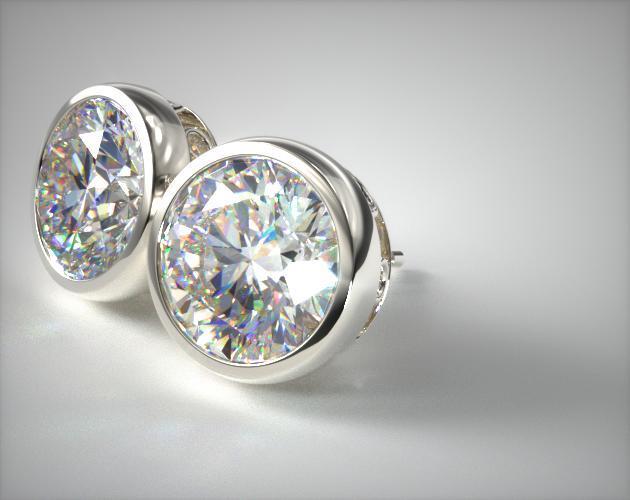 14K White Gold Pair of Bezel Diamond Earrings (Mounting)