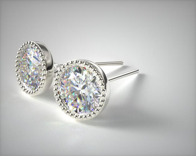 14K White Gold Milgrain Bezel Diamond Earrings (0.50 CTW.)