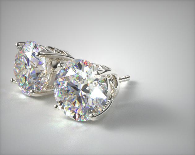 14K White Gold Pair of Scroll Basket Earrings (Mounting)