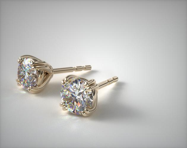 14K Yellow Gold Double Prong Diamond Earrings (0.33 CTW.)