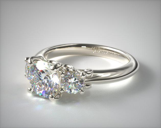 18K White Gold Three Stone Diamond Engagement Ring with Scroll Undergallery