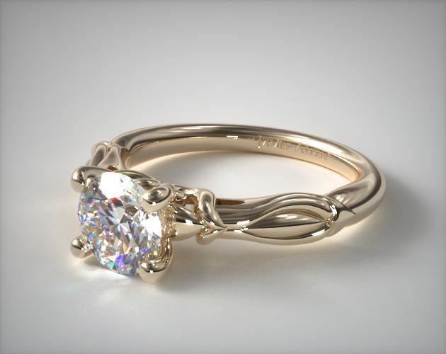 14K Yellow Gold Wrapped Hearts Bombay Engagement Ring