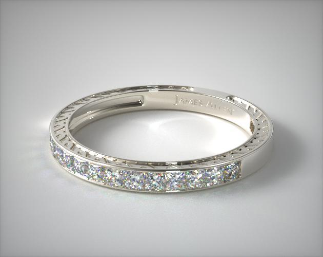 14K White Gold 0.51ct Channel Set Princess Shaped Diamond Wedding Ring