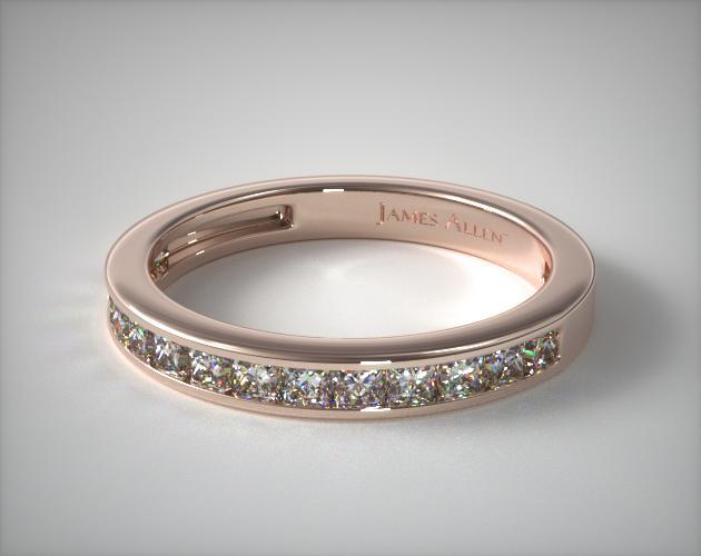 14K Rose Gold 0.50CTW. Channel Set Princess Shaped Diamond Wedding Band