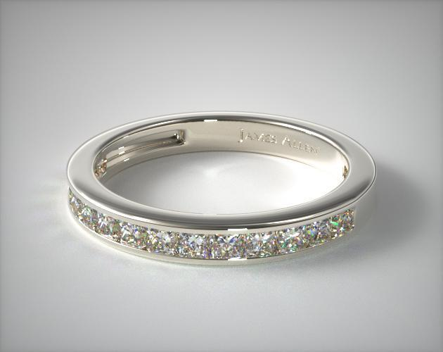 Platinum 0.50CTW. Channel Set Princess Shaped Diamond Wedding Band