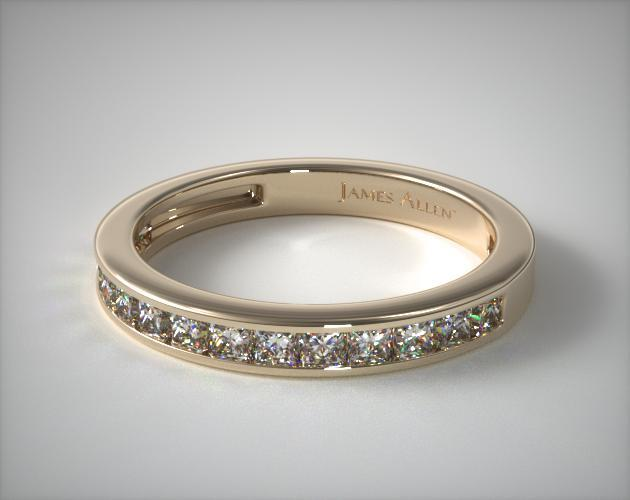 14K Yellow Gold 0.50CTW. Channel Set Princess Shaped Diamond Wedding Band