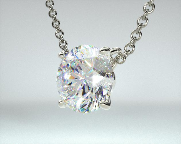 18K White Gold 4 Prong Wire Basket Solitaire Pendant (0.50 CTW.)