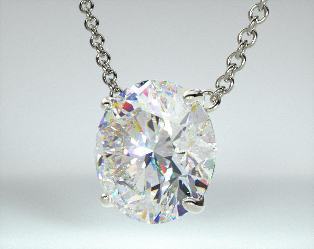 18K White Gold 4 Prong Wire Basket Solitaire Pendant (Mounting)