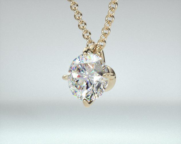 18K Yellow Gold Four Prong Wire Basket Solitaire Pendant (0.25 CTW.)