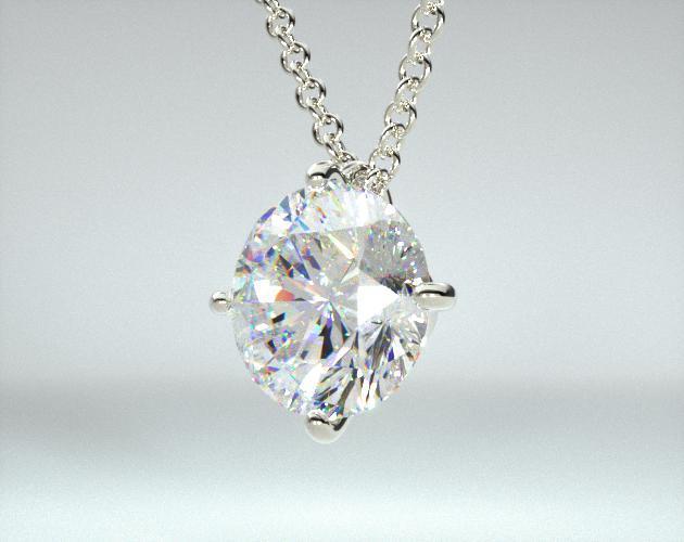 18K White Gold 0.50ct F-G, VS Diamond Wire Basket Pendant