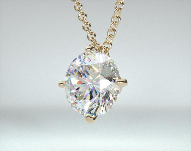 18K Yellow Gold 4 Prong Wire Basket Solitaire Pendant Setting