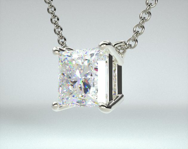 18K White Gold Princess Shape Diamond Pendant (0.50 CTW.)