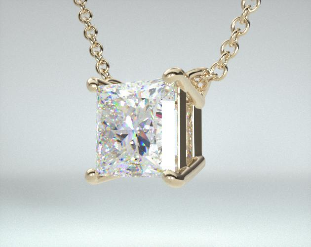 18K Yellow Gold Princess Shape Diamond Pendant (0.50 CTW.)