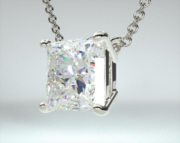 Platinum Princess Shape Diamond Pendant (0.25 CTW.)