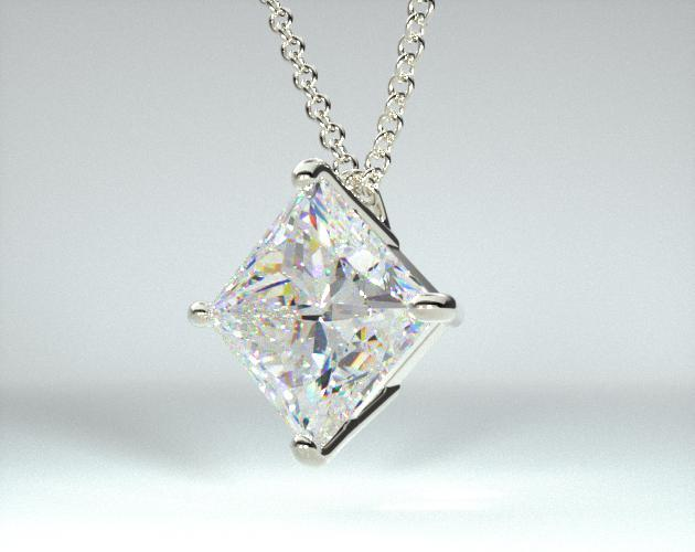 18K White Gold 4 Prong Wire Basket Pendant (Mounting)