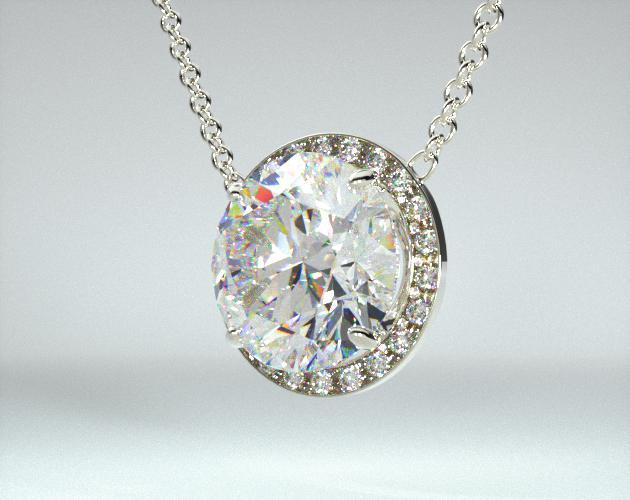 18K White Gold Pave Set Frame Pendant (Mounting)