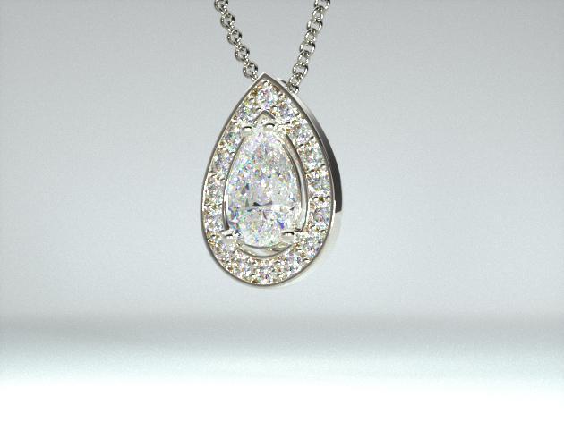 18K White Gold 0.50ct Pave Set Frame Diamond Pendant