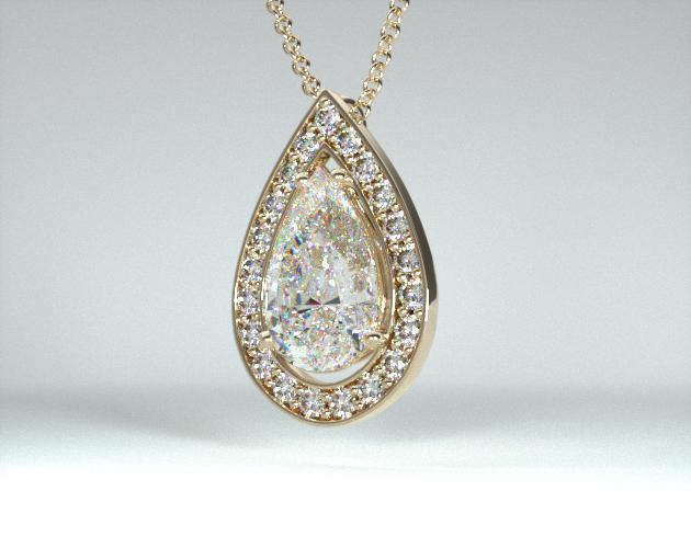 18K Yellow Gold Pave Set Frame Diamond Pendant Setting